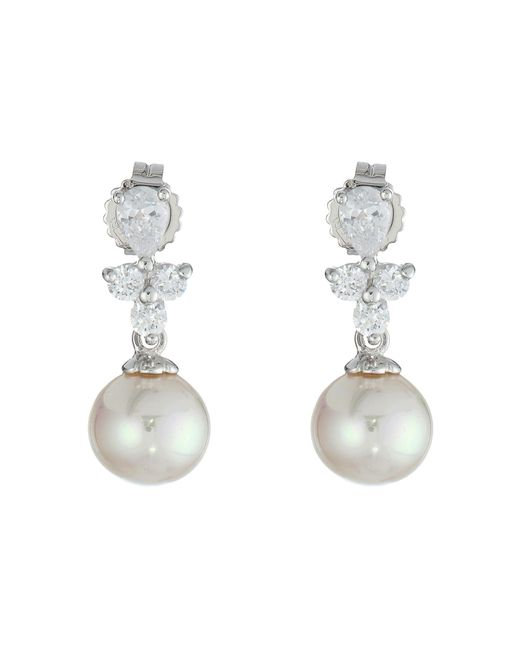 Majorica | White Pearl Drop W/ Cz Pear Shape Earrings | Lyst