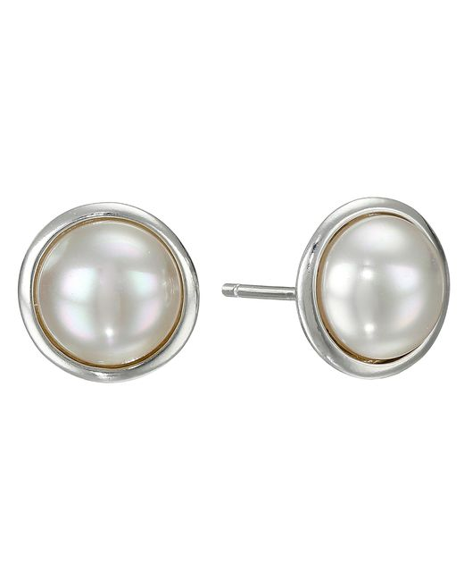 Majorica | White 8mm Round Mabe On Ss Earrings | Lyst