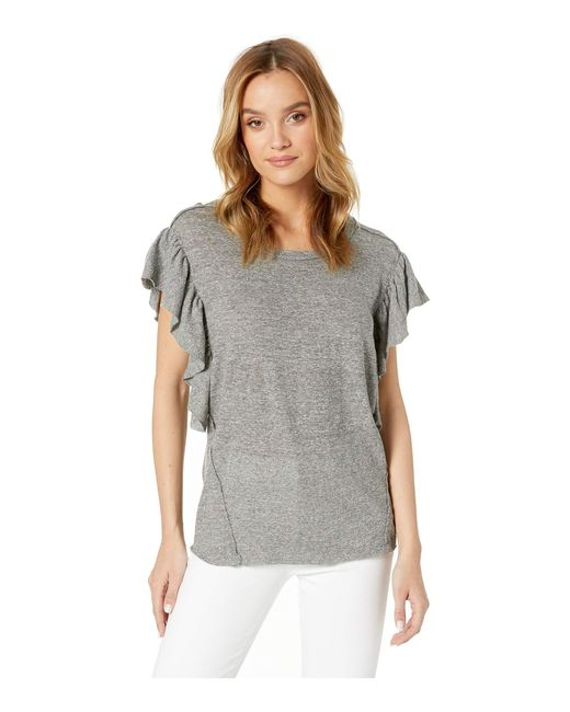 4eb5cc8be Splendid - Gray Flutter Sleeve Tee (gravel Heather Grey) Women's T Shirt -  Lyst ...
