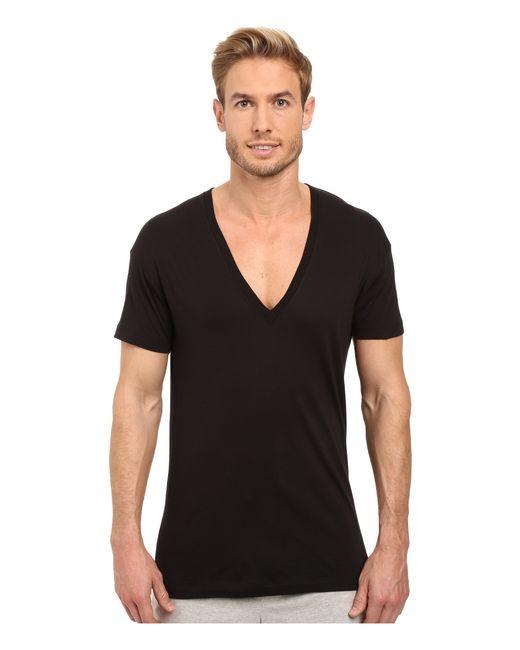 2xist pima slim fit deep v neck t shirt in black for men