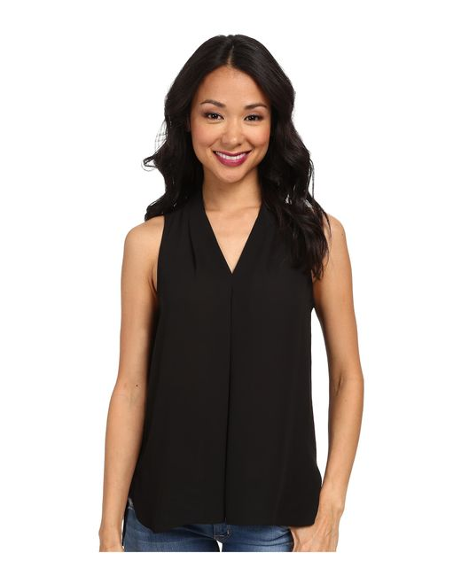 Vince Camuto | Black Sleeveless V-neck Blouse W/ Inverted Front Pleat | Lyst