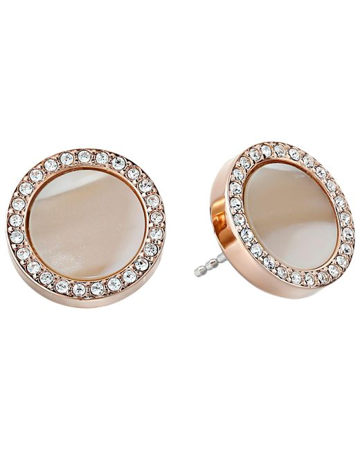 Fossil | Pink Shimmer Horn Studs | Lyst