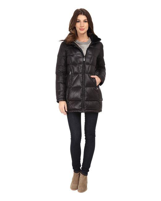 Calvin Klein | Black Packable Down Walker Coat With Velvet Collar | Lyst