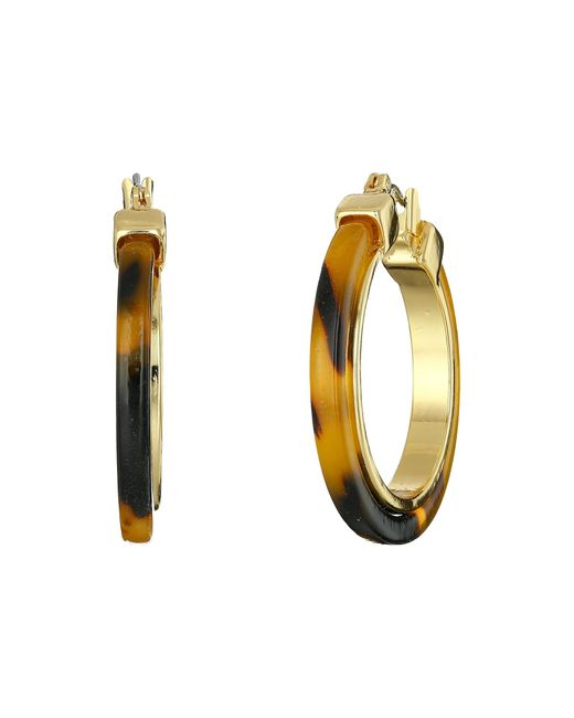 Lauren by Ralph Lauren | Brown Large Tortoise Clickit Hoop Earrings With Metal Inlay | Lyst