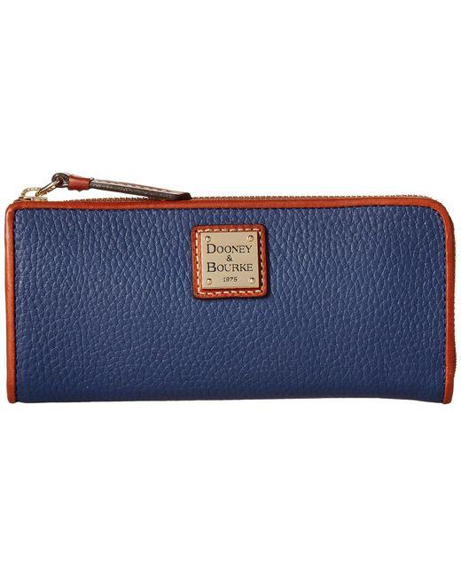 Dooney & Bourke - Blue Pebble Zip Clutch (desert) Clutch Handbags - Lyst