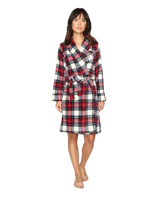 Lauren by Ralph Lauren | Red Folded So Soft Terry Short Robe | Lyst