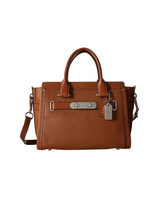 COACH | Brown Pebbled Leather Swagger 27 | Lyst
