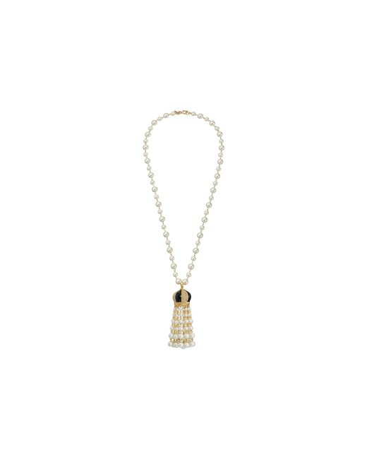 Kenneth Jay Lane | White Pearl With Black And Rhinestone Cap And Pearl Tassel Necklace | Lyst