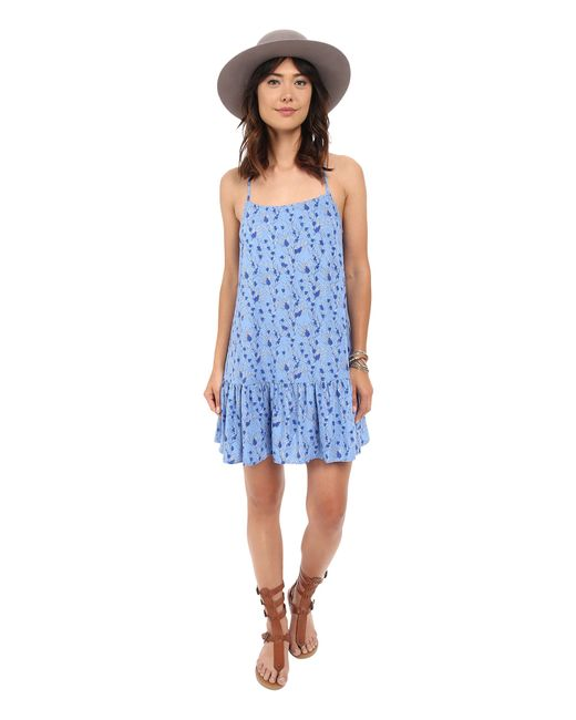 Jack BB Dakota   Blue Veera Printed Rayon Challi Dropped Waist Dress   Lyst