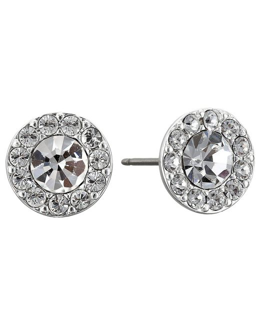 Lauren by Ralph Lauren | Metallic Small Round Pave Stud Pierced Earrings | Lyst