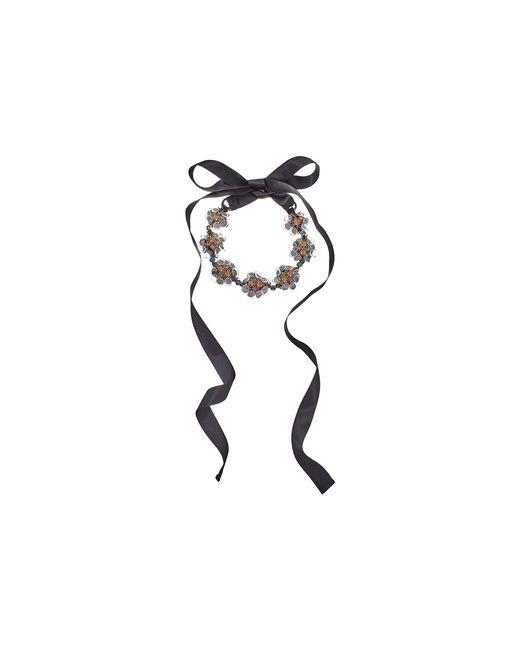 Oscar de la Renta | Gray Crystal Flower Petal Necklace | Lyst