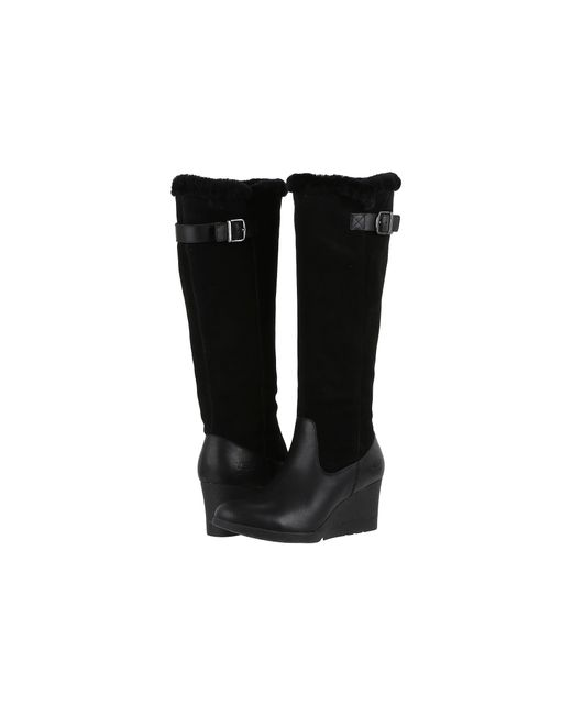 Ugg | Black Mischa Leather Wedge Boots | Lyst