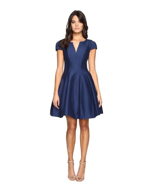 Halston Heritage | Blue Short Sleeve Notch Neck Dress With Tulip Skirt | Lyst