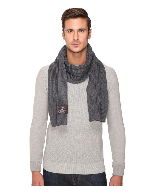 Ugg Ribbed Scarf in Gray for Men | Lyst