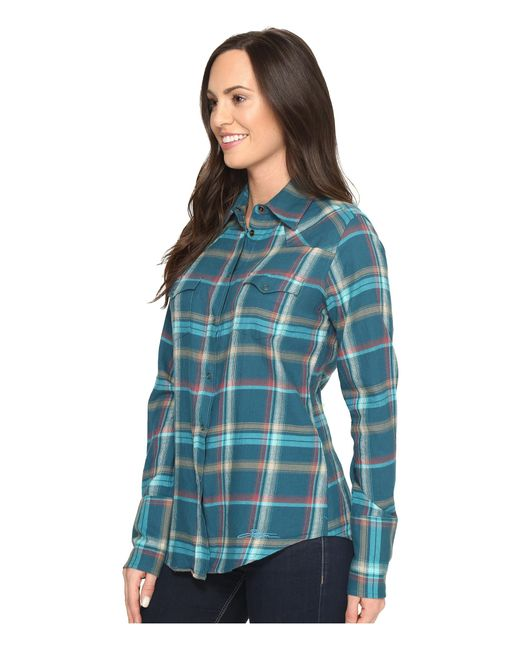 Stetson brushed twill ombre plaid shirt in blue lyst for Brushed cotton twill shirt