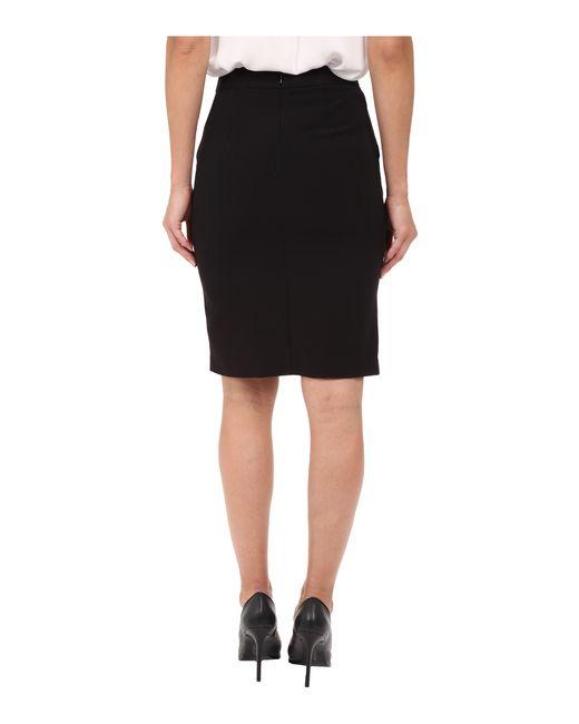 kensie stretch crepe pencil skirt ks2k6221 in black lyst