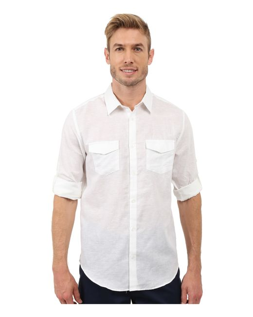 Calvin klein classic fit linen roll up sleeve shirt in for Calvin klein full sleeve t shirt