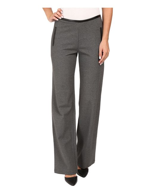 Hue | Gray Leatherette Trim Luxe Ponte Pants | Lyst