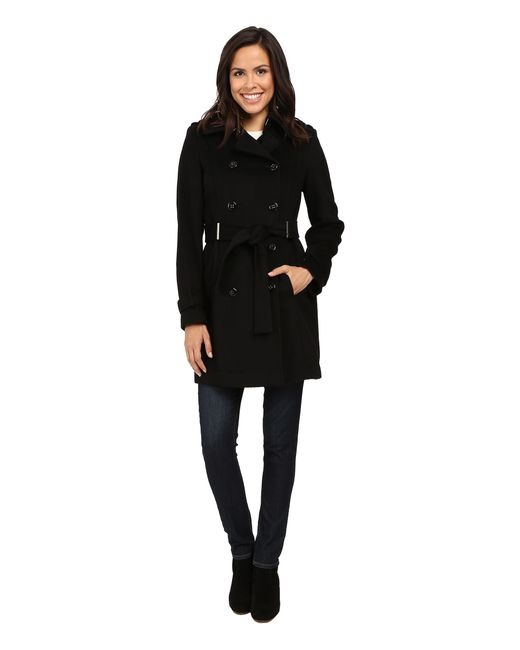 Calvin Klein | Black Double-breasted Belted Wool Coat | Lyst