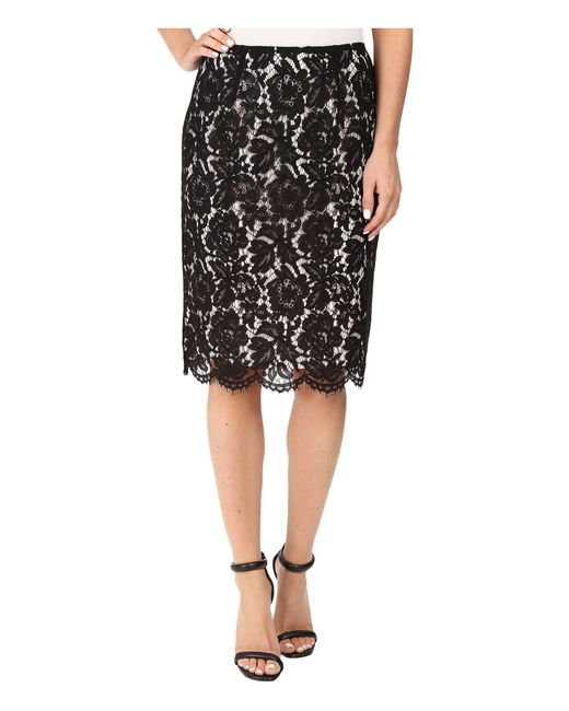 Vince Camuto | Black Scallop Lace Pencil Skirt | Lyst