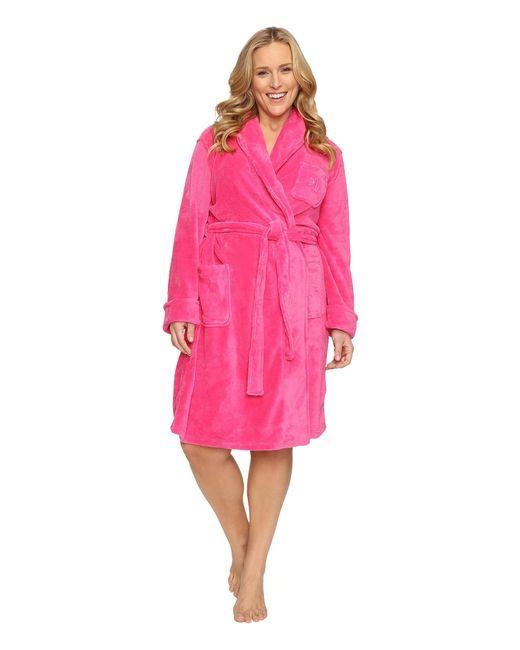 Lauren by Ralph Lauren | Pink Plus Size So Soft Short Robe | Lyst