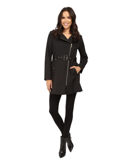 MICHAEL Michael Kors | Black Asymmetric Zip Front Belted Trench M722395t | Lyst