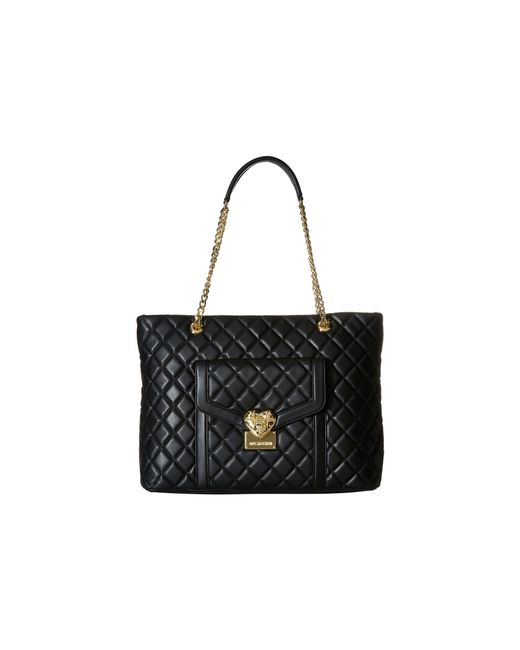 Love Moschino   Black Quilted Tote With Chain   Lyst
