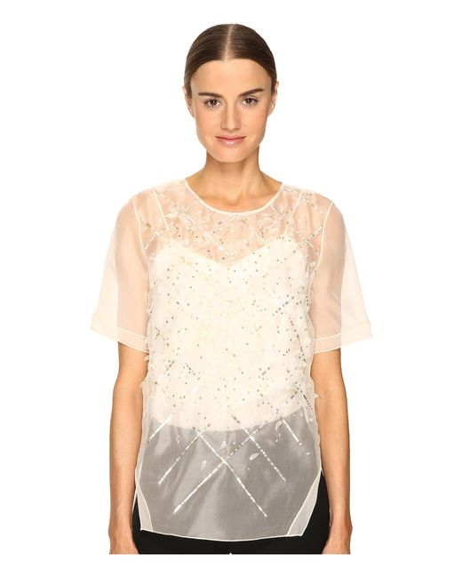 Prabal Gurung | White Short Sleeve Embroidered Blouse | Lyst