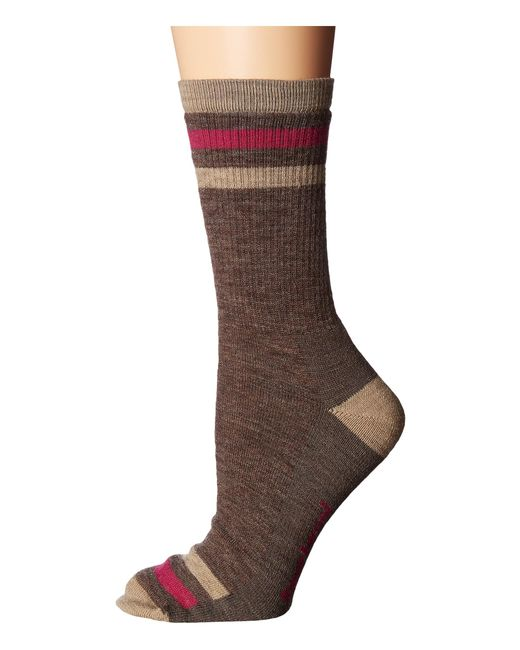 Smartwool | Brown Striped Hike Light Crew | Lyst