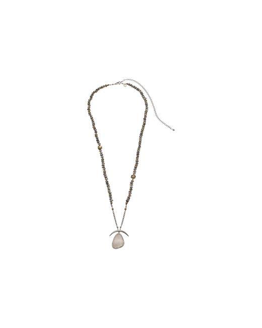Chan Luu   Gray 30-37' Adjustable Mystic Labradorite Necklace With Druzy Agate Pendant   Lyst