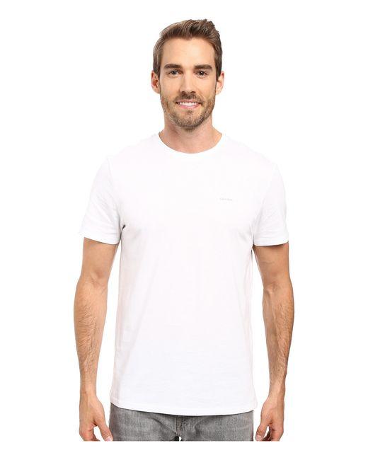 Calvin Klein   White Short Sleeve Pima Cotton Crew T-shirt for Men   Lyst