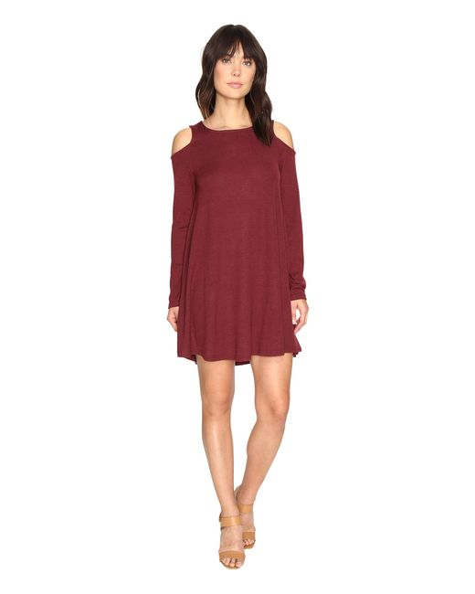 Culture Phit | Red Vera Long Sleeve Cold Shoulder Dress | Lyst