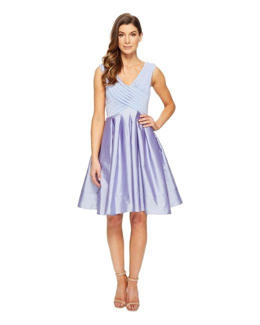 Adrianna Papell | Blue Tafetta Fit And Flare | Lyst