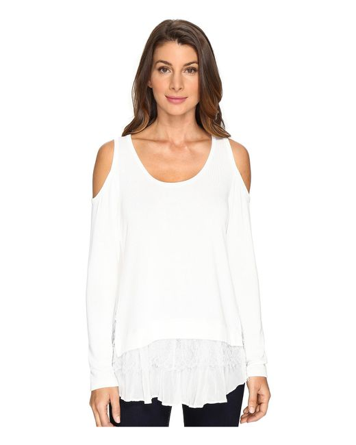 Karen Kane | White Cold Shoulder Lace Inset Sweater | Lyst