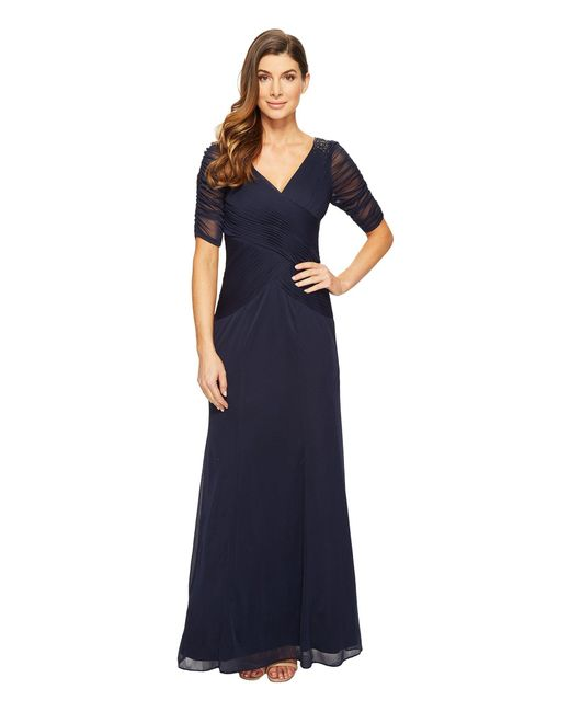 Adrianna Papell | Blue 3/4 Length Sleeve Rouched Stretch Tulle Dress With Beading | Lyst