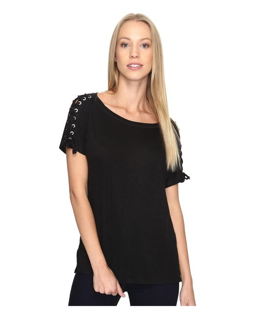 NYDJ | Black Greenwich Lace-up Sleeve Tee | Lyst