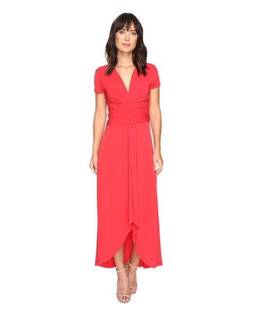 Michael Michael Kors Short Sleeve Maxi Wrap Dress In Red