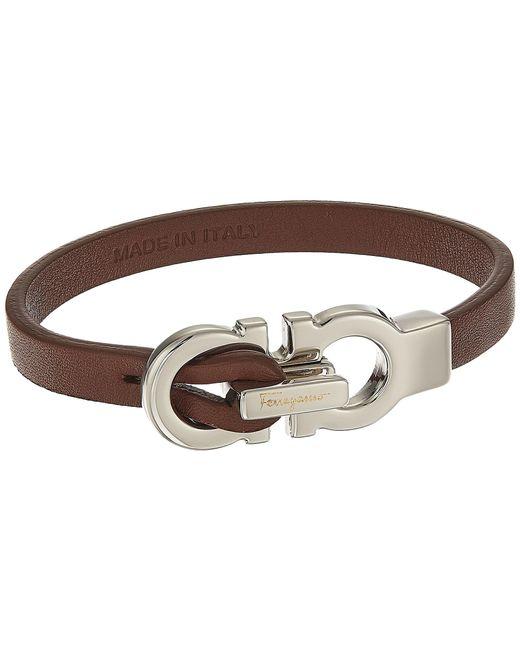 Ferragamo | Brown Doppio Gancio Leather Bracelet | Lyst