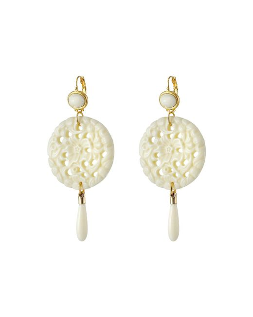Kenneth Jay Lane - White Large Top/round Carved Bottom W/ Drop Earrings - Lyst