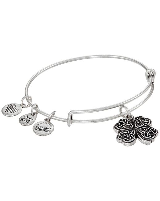 ALEX AND ANI | Metallic Path Of Symbols-four Leaf Clover Iv Bangle | Lyst