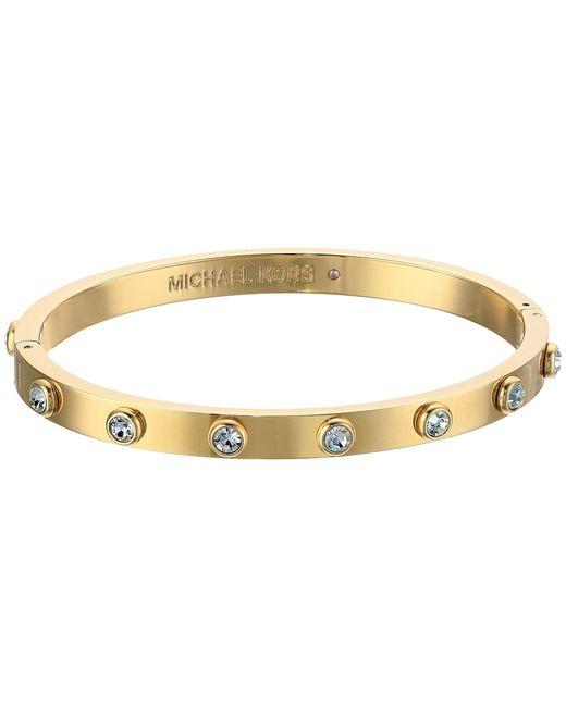 Michael Kors | Metallic Tone And Crystal Hinged Bangle Bracelet | Lyst