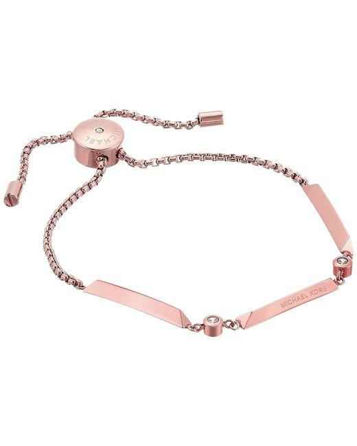 Michael Kors | Metallic Tone And Crystal Slider Bracelet | Lyst