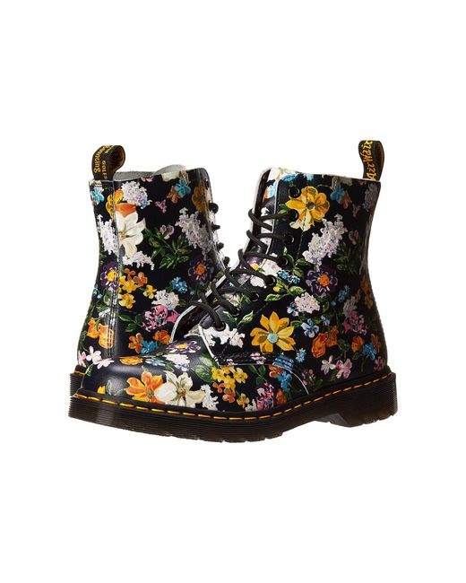 Dr. Martens   Black Pascal Darcy Floral 8-eye Boot   Lyst