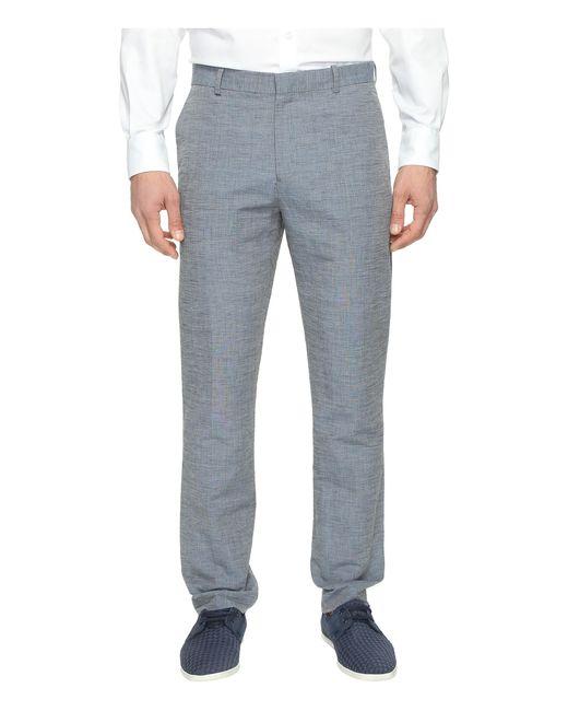 Perry Ellis | Blue Slim Fit Linen Cotton End On End Dress Pants for Men | Lyst