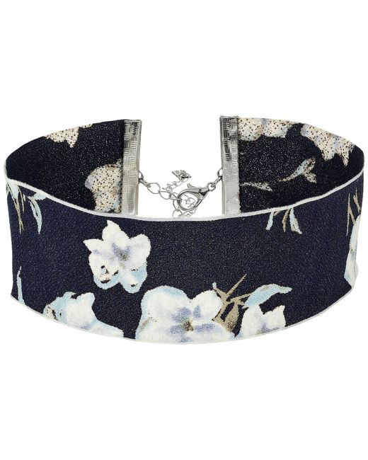 Steve Madden | Blue Material With Floral Pattern Choker Necklace | Lyst