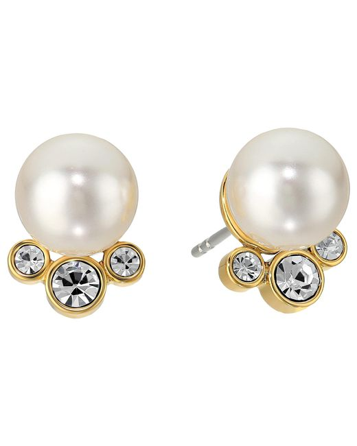 Michael Kors | Metallic Modern Classic Pearl And Crystal Stud Earrings | Lyst