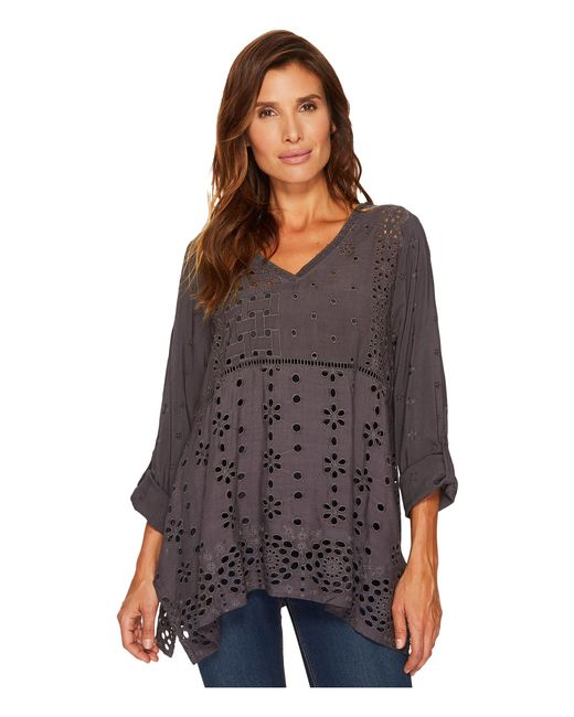 Dylan By True Grit | Gray Embroidered & Eyelet Slub Challis Coquette Pullover | Lyst