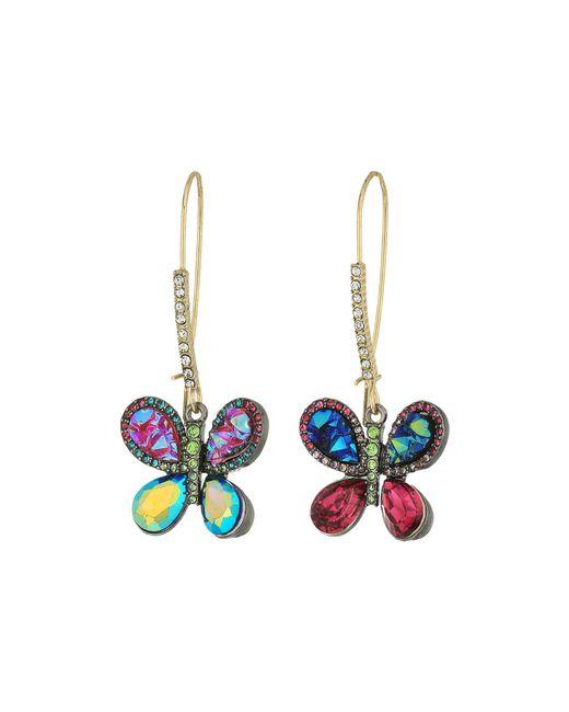 Betsey Johnson | Multicolor Butterfly Drop Earrings | Lyst