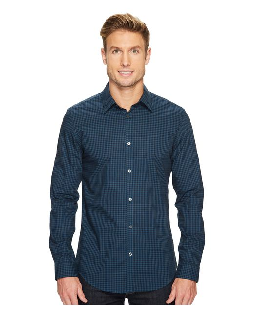 Calvin Klein | Blue Slim Fit Infinite Cool End On End Shadow Check Button Down Shirt for Men | Lyst