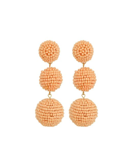 Kenneth Jay Lane | Multicolor 2 Peach Pink Seed Bead Wrapped Ball Post Earrings W/ Dome Top | Lyst